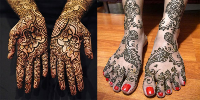Henna Mehndi Designing using Wooden Blocks Stamps