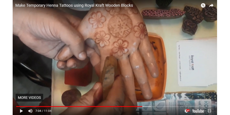 How to make temporary henna tattoos using Royal Kraft wooden blocks