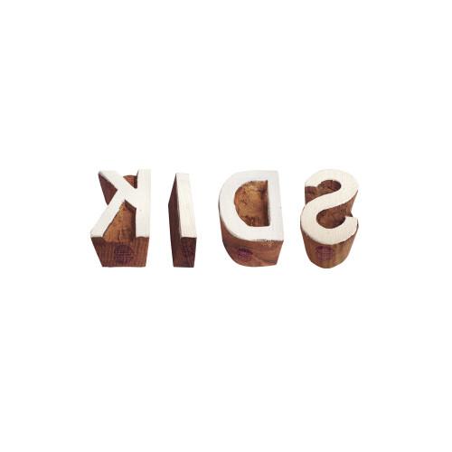 (Set of 4) Learning Print Blocks Ethnic Kids Alphabet Pattern Wooden Stamps