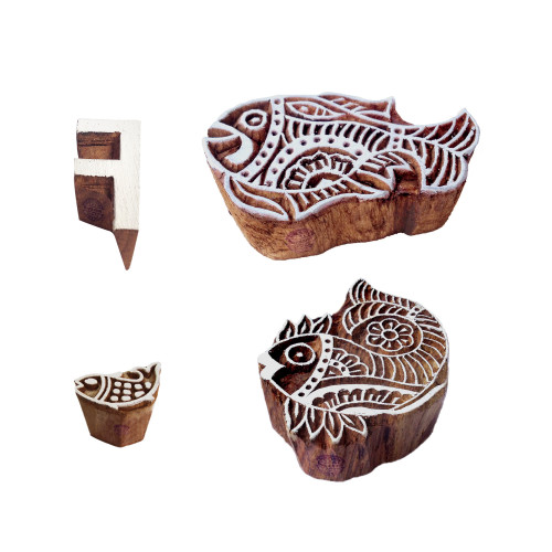 (Set of 4) Educational Printing Blocks Asian Fish Alphabet Shape Wood Stamps
