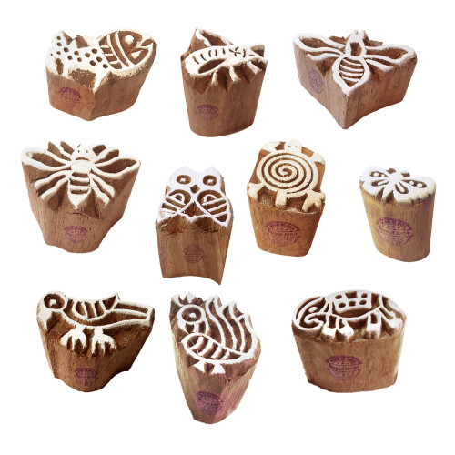 (Set of 10) Tattoo Print Blocks Beautiful Small Animal Design Wood Stamps