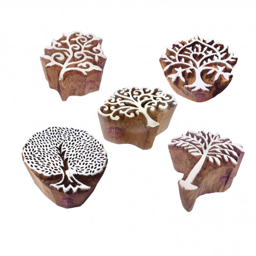 (Set of 5) Retro Designs Tree and Assorted Wooden Block Stamps
