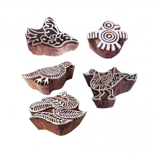 (Set of 5) Classy Pattern Assorted and Bird Wood Print Blocks