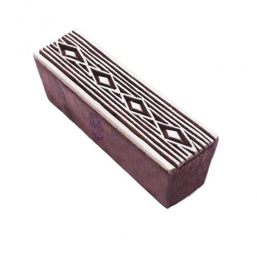 Trendy Geometric Pattern Border Wooden Block for Block Printing