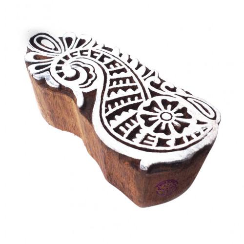 Abstract Rural Flowery Design Block Print Wood Stamp