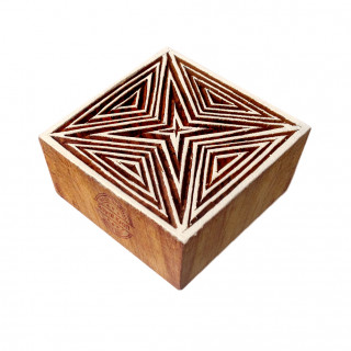 Handcrafted Square Geometric Design Block Print Wood Stamp