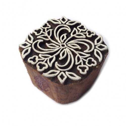 Abstract Square Floral Design Block Print Wood Stamp