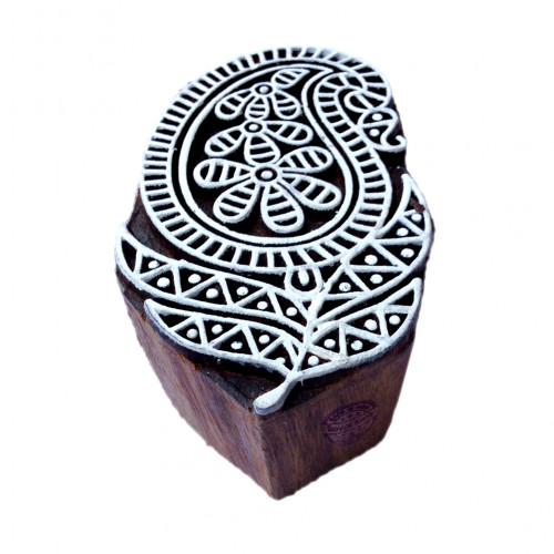 Handcrafted Paisley Crafty Design Block Print Wood Stamp