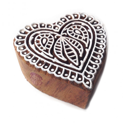 Rural Floral Heart Design Block Print Wood Stamp