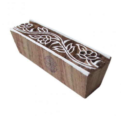 Handcrafted Floral Design Border Block Print Wood Stamp