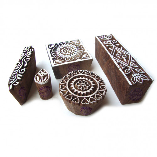 (Set of 5) Contemporary Round and Floral Motif Block Print Wood Stamps