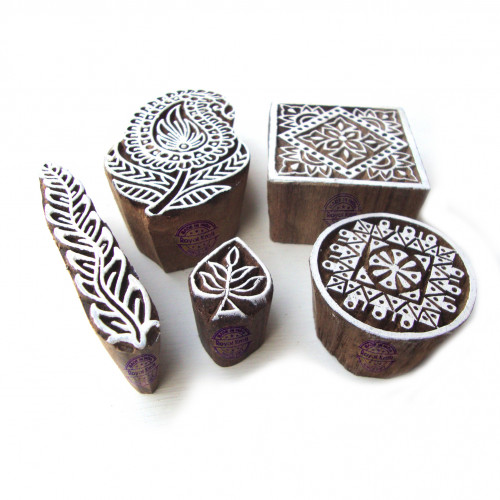 (Set of 5) Decorative Paisley and Floral Motif Block Print Wood Stamps