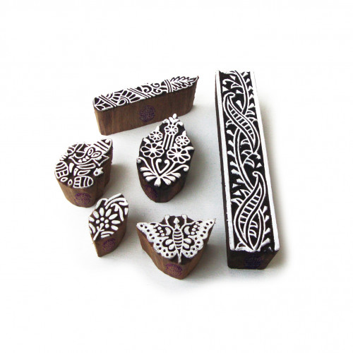 (Set of 6) Exclusive Ganesha and Butterfly Motif Block Print Wood Stamps