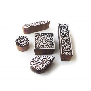 (Set of 5) Jaipuri Square and Religious Motif Block Print Wood Stamps