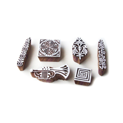 (Set of 6) Traditional Music and Floral Motif Block Print Wood Stamps