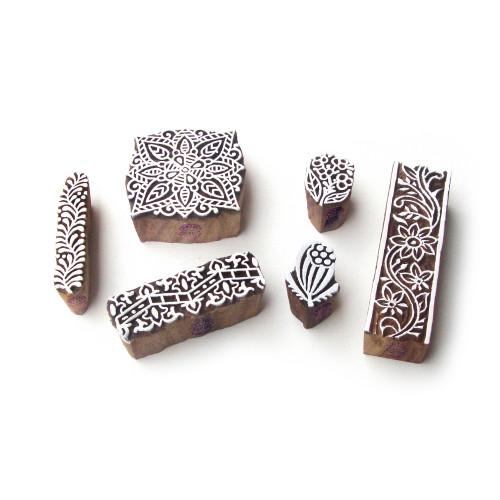 (Set of 6) Border and Square Designer Motif Block Print Wood Stamps