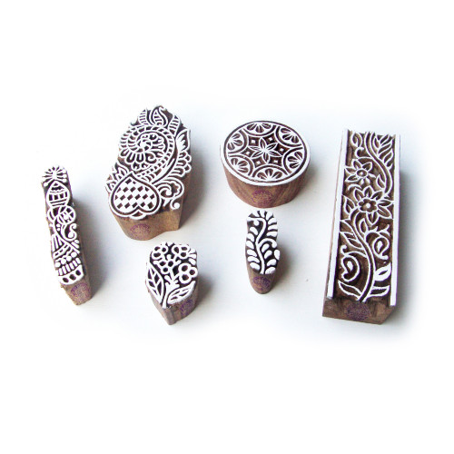(Set of 6) Assorted and Floral Exclusive Motif Block Print Wood Stamps
