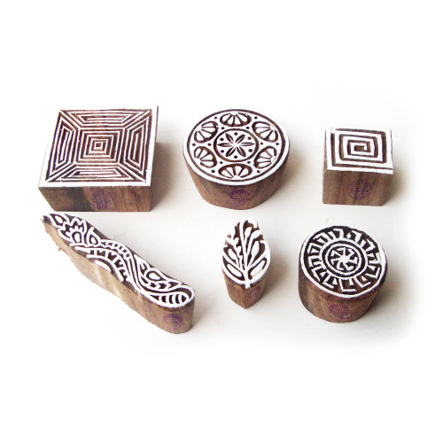 (Set of 6) Square and Round Artistic Motif Block Print Wood Stamps