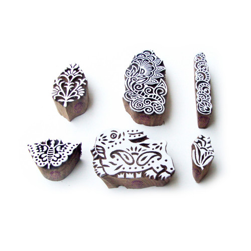 (Set of 6) Rabbit and Butterfly Asian Motif Block Print Wood Stamps