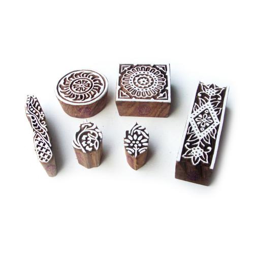 (Set of 6) Assorted and Floral Designer Motif Block Print Wood Stamps