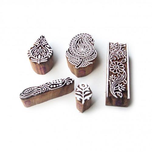 (Set of 5) Paisley and Leaf Artistic Motif Block Print Wood Stamps