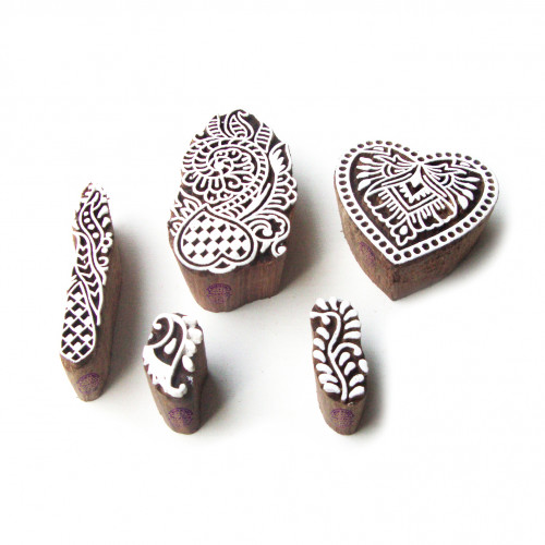 (Set of 5) Heart and Floral Ethnic Motif Block Print Wood Stamps