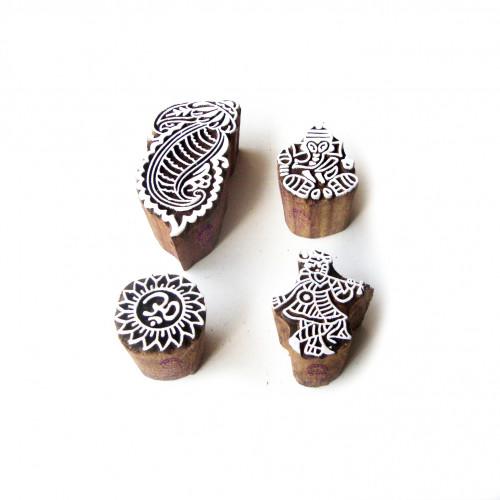 (Set of 4) Krishna and Ganesha Elegant Motif Block Print Wood Stamps