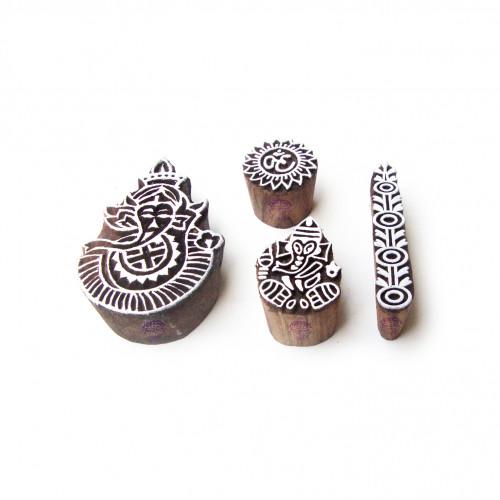 (Set of 4) Ganesha and Border Hand Made Motif Block Print Wood Stamps