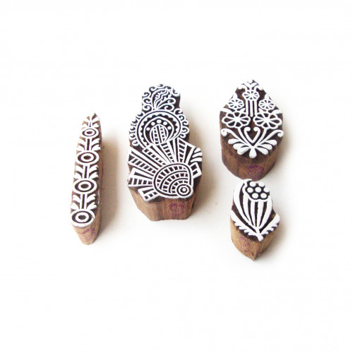 (Set of 4) Assorted and Floral Traditional Motif Block Print Wood Stamps