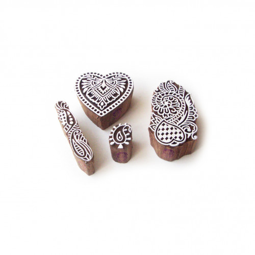 (Set of 4) Heart and Floral Handcrafted Motif Block Print Wood Stamps