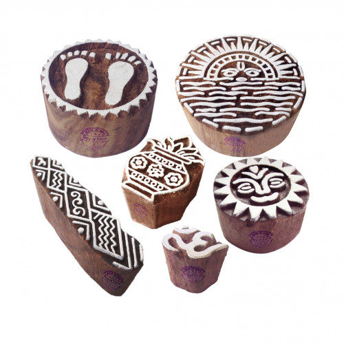 (Set of 6) Indian Motif Sun and Religious Block Print Wood Stamps