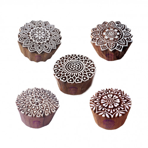 (Set of 5) Artistic Motif Round and Mandala Block Print Wood Stamps
