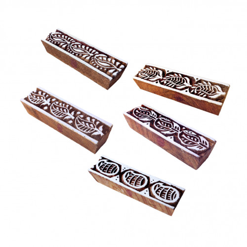 (Set of 5) Classy Motif Paisley and Border Block Print Wood Stamps