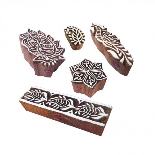 (Set of 5) Ornate Motif Paisley and Border Block Print Wood Stamps
