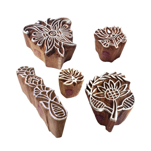 (Set of 5) Handcarved Motif Flower and Finger Block Print Wood Stamps