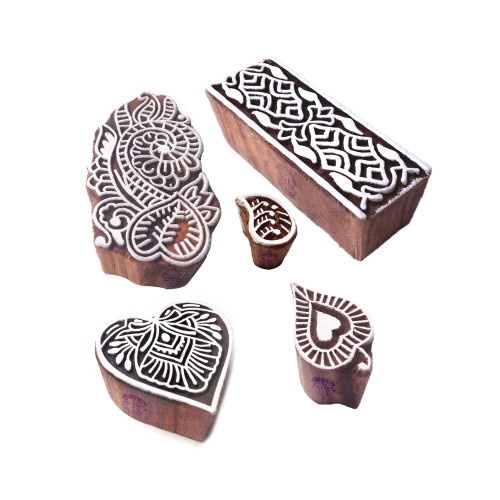 (Set of 5) Artistic Motif Heart and Leaf Block Print Wood Stamps