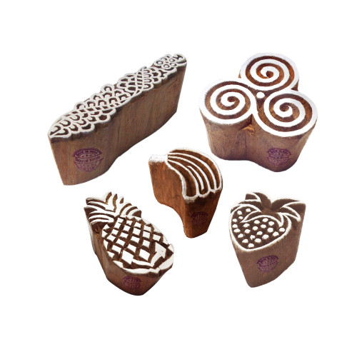 (Set of 5) Intricate Motif Spiral and Fruit Block Print Wood Stamps