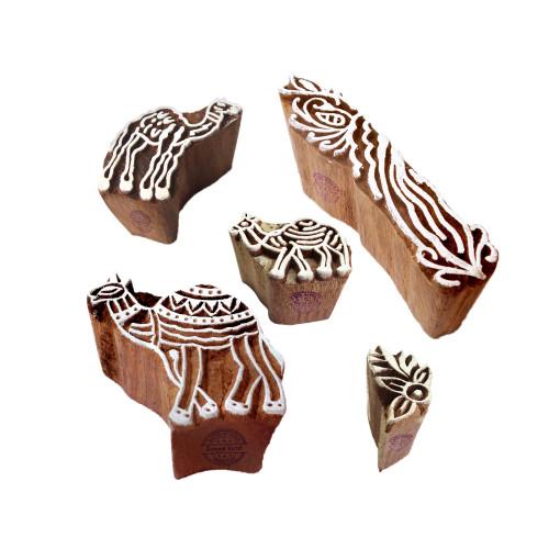 (Set of 5) Ornate Motif Finger and Camel Block Print Wood Stamps