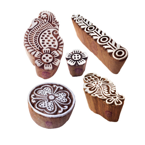 (Set of 5) Arty Crafty Motif Paisley and Floral Block Print Wood Stamps