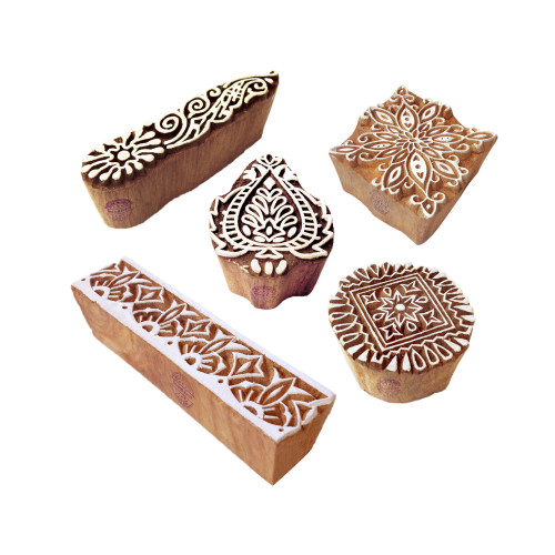 (Set of 5) Traditional Motif Leaf and Border Block Print Wood Stamps