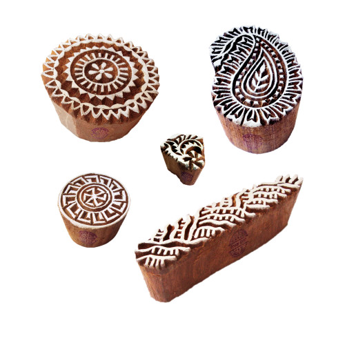 (Set of 5) Creative Motif Paisley and Round Block Print Wood Stamps