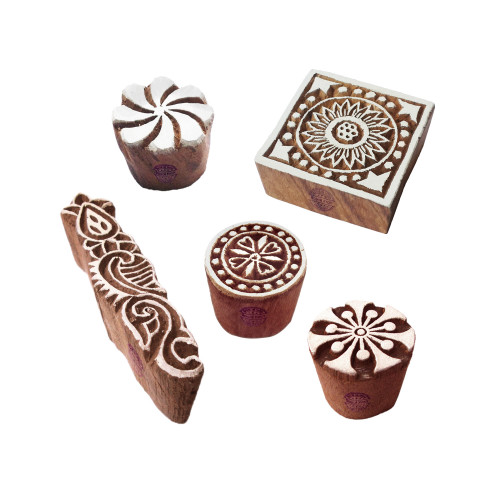 (Set of 5) Indian Motif Square and Round Block Print Wood Stamps
