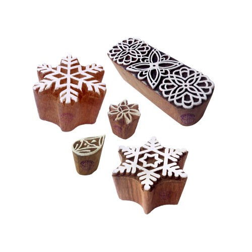 (Set of 5) Intricate Motif Snowflake and Border Block Print Wood Stamps