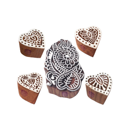 (Set of 5) Ornate Motif Heart and Damask Block Print Wood Stamps