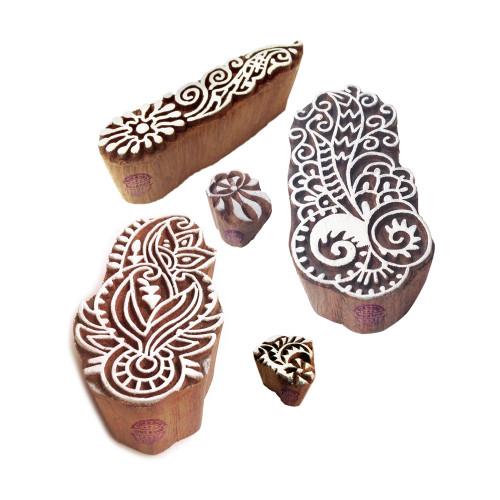 (Set of 5) Designer Motif Damask and Finger Block Print Wood Stamps