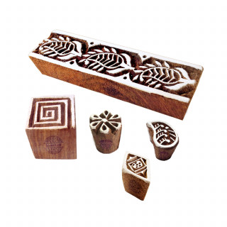 (Set of 5) Traditional Motif Spiral and Paisley Block Print Wood Stamps