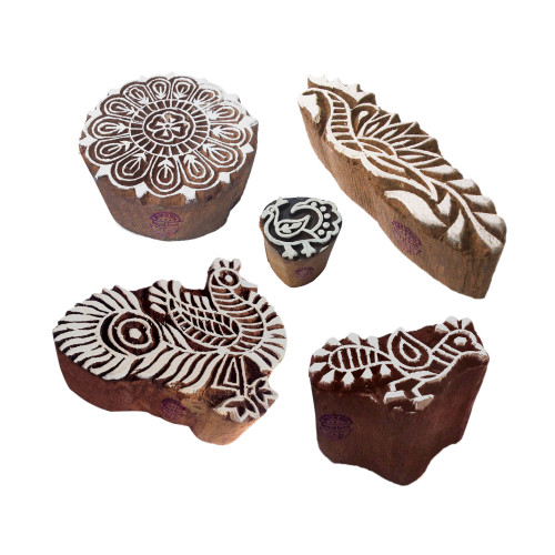 (Set of 5) Creative Motif Mandala and Peacock Block Print Wood Stamps