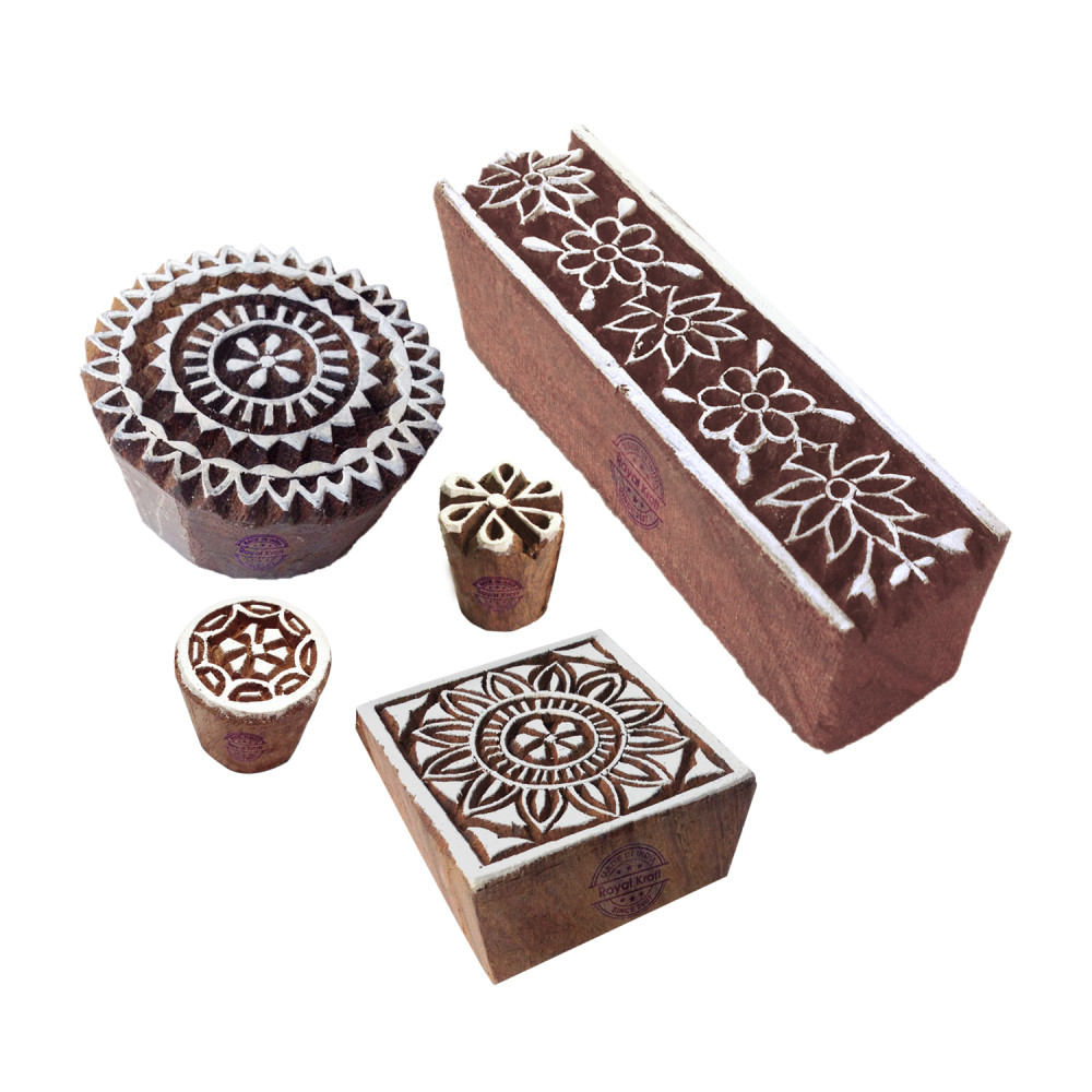 370aa558a4 (Set of 5) Crafty Motif Floral and Square Block Print Wood Stamps
