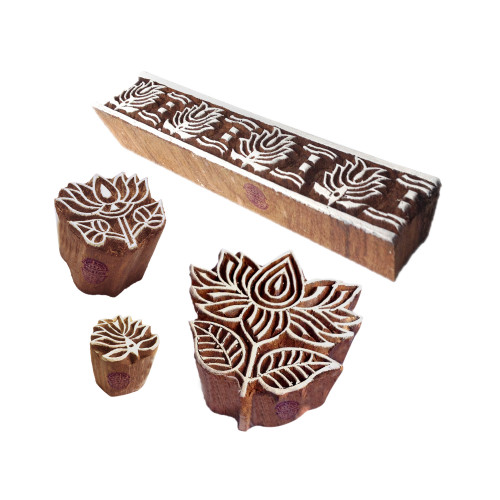 (Set of 4) Trendy Motif Lotus and Border Block Print Wood Stamps
