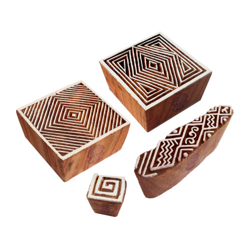 (Set of 4) Decorative Motif Square and Finger Block Print Wood Stamps